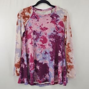 Logo Lori Goldstein tie dye tunic top with pockets